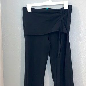 Bloom Fold Over Black Leggings Pants